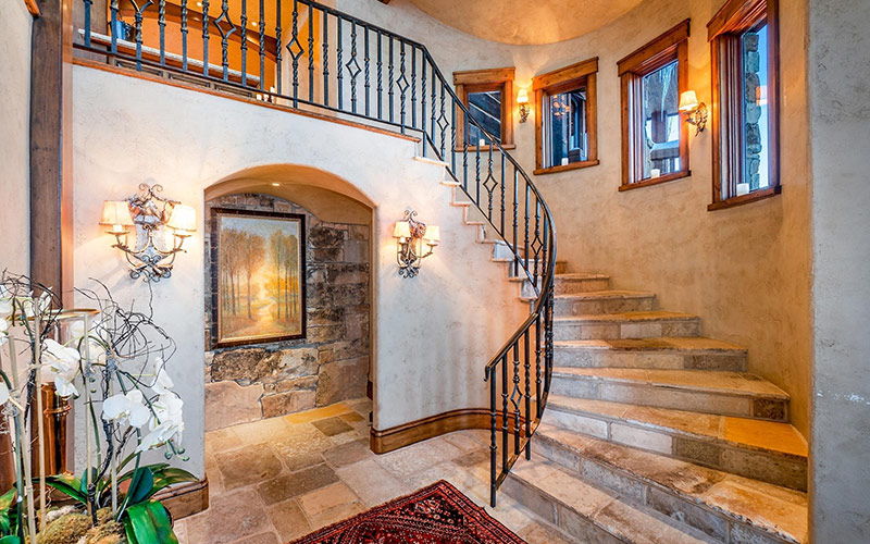 Park City luxury yoga retreat townhome stairs